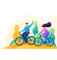 friends ride a bike in forest rest vector image