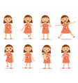 funny kid girl emotion expressions vector image
