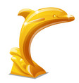 golden statue a jumping dolphin isolated on vector image