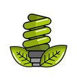 green energy save bulb with leaves icon vector image vector image