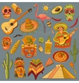 Hand drawn Mexico icons set vector image vector image