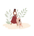 happy young mom walking with baby in stroller vector image