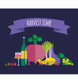 Harvest food icons objects vector image