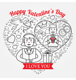 I Love You Happy Valentines Day greetings card lab vector image