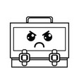 line kawaii cute angry suitcase design vector image