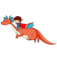 little boy riding a dragon cartoon character vector image vector image