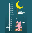 meter wall with rabbit on swing hanging vector image vector image