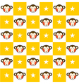 Monkey Star Yellow White Chess Board Background vector image vector image