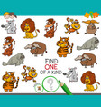 one a kind game with wild animal characters vector image vector image