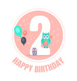 pink circle with number 2 for birthday decoration vector image vector image