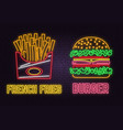 retro neon burger and french fries sign on brick vector image vector image