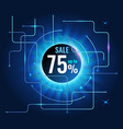 sale banner up to 75 for cyber monday on tech blue vector image vector image