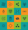 set of 16 robotics icons includes information vector image