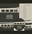 set of design elements for coffee house with menu vector image vector image