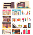 shopping mall icon set vector image vector image