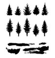 silhouette forest template elements vector image vector image