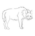 silhouette of a hyena stylized on a white vector image vector image