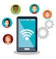 smartphone with social network icons vector image vector image