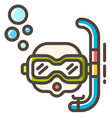 snorkel line color icon vector image