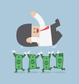 Successful businessman being throwing up by dollar vector image vector image