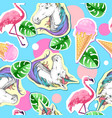 summer seamless pattern with unicorn and flamingo vector image