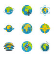 terrestrial globe icons set flat style vector image