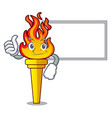 thumbs up with board torch character cartoon style vector image vector image