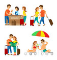 travelers couple on vacation reception and beach vector image