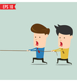 Two businessmen playing tug of war vector image vector image