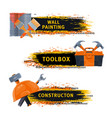 wall painting and construction tools banner vector image vector image