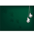 White Artificial Hands Hanging on Green Background vector image vector image