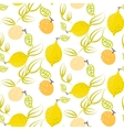 Yellow lemon with leaves seamless pattern vector image vector image