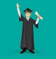 degree graduate student in mantle gown holds vector image