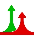 Red and Green Rising Arrows on White Background vector image