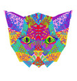 hand drawn doodle outline cat head vector image