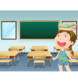 A young girl inside a classroom vector image vector image