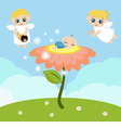 Angels with stars and baby sleeping on the flower vector image