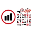Bar Chart Increase Flat Icon with Bonus vector image vector image