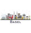basel switzerland city skyline with color vector image vector image