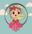 beautiful girl with floral frame kawaii character vector image