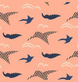 bird silhouettes abstract seamless pattern vector image