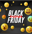 black friday super sale poster with emoticons vector image vector image