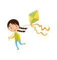 brunette little girl playing kite cute cartoon vector image