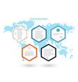business template infographicsfive hexagons vector image