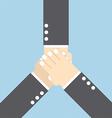 businessmen with hands together teamwork concepts vector image vector image