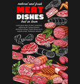 butchery products sketch poster with meat dishes vector image