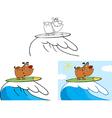 Cartoon dog surfing vector image vector image