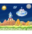 Cartoon fantastic landscape with spaceship vector image