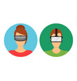 cartoon virtual reality glasses avatars set vector image
