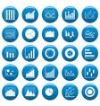 chart diagram icon set vetor blue vector image